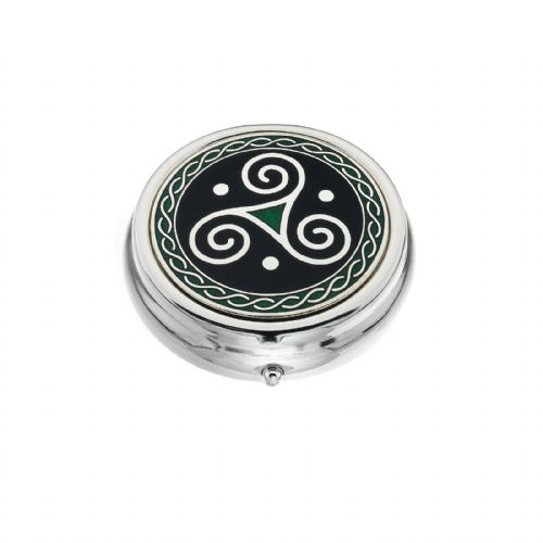 Large Pill Box Silver Plated Celtic Triskele Black Brand New & Boxed